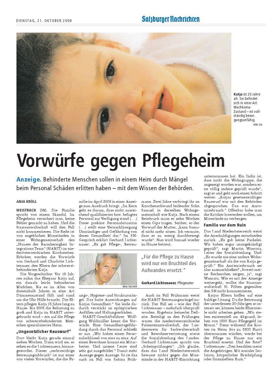 """SN-Artikel vom 21.10.2008: """"Vorwürfe gegen Pflegeheim"""""""